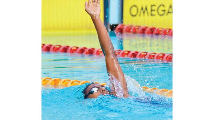 Shenal Abeysinghe in action at a swimming meet. Picture by Upananda Jayasundera-Kandy Sports Spl.corr