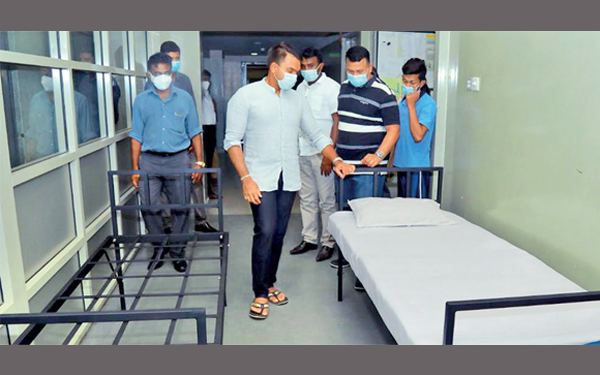 Youth and Sports Minister Namal Rajapaksa inspecting some of the beds.